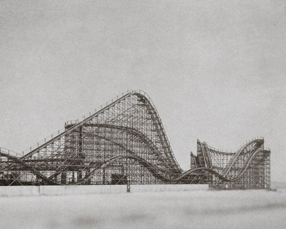 Roller coaster new jersey seaside carnival mid century urban decay vintage arcade east coast foggy misty rain black and white