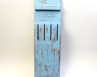 Painted Distressed Wood Knife Holder Reclaimed Upcycled Blue and Brown Shabby and Chic