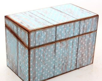 Wood Recipe Box Barn Wood and Blue and White Polka Dots Fits 4x6 Recipe Cards