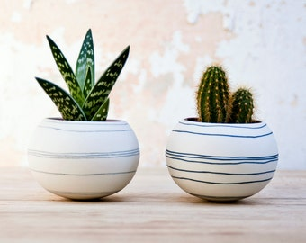 colorful porcelain planter light gray stripes. Ceramic planter for cactus, succulent, air plant. Mini pot for plants Crafted by Wapa Studio.