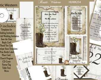 Rustic Cowboy Boots Wedding Template Kit on CD