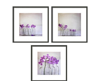 wildflowers purple still life photography Set of Three nature photography bathroom decor home decor