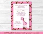 Cute Pink Giraffe Baby Sh...