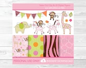 Cute Pink Jungle Animal C...