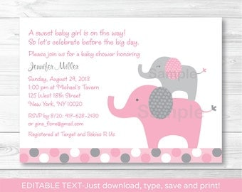 Pink Elephant Baby Shower Invitation INSTANT DOWNLOAD Editable PDF