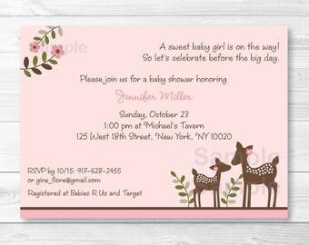 Pink Deer Baby Shower Invitation / Deer Baby Shower Invite / Deer Baby Shower / Woodland Baby Shower / Baby Girl Shower / PRINTABLE A379