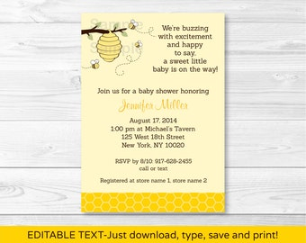 Cute Bumble Bee Baby Shower Invitation / Bumble Bee Baby Shower Invite / Gender Neutral / INSTANT DOWNLOAD Editable PDF
