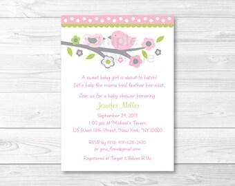 Pink Bird Baby Shower Invitation / Baby Bird / Bird Baby Shower / PRINTABLE