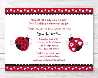Cute Ladybug Baby Shower Invitation / Ladybug Baby Shower Invite / Ladybug Baby Shower Theme / Red & Black / Baby Girl Shower / PRINTABLE