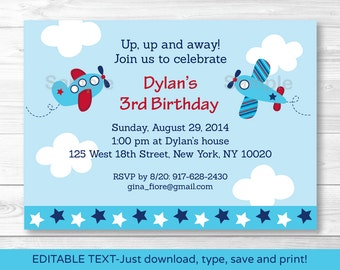 Cute Airplane Birthday Invitation / Airplane Birthday Invite / 1st Birthday / 2nd Birthday / Any Age / INSTANT DOWNLOAD Editable PDF