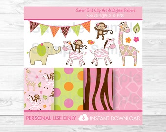 Cute Pink Jungle Animal Clipart / Safari Animal Clipart / Digital Paper / Elephant / Zebra / Giraffe / Monkey, PERSONAL USE Instant Download
