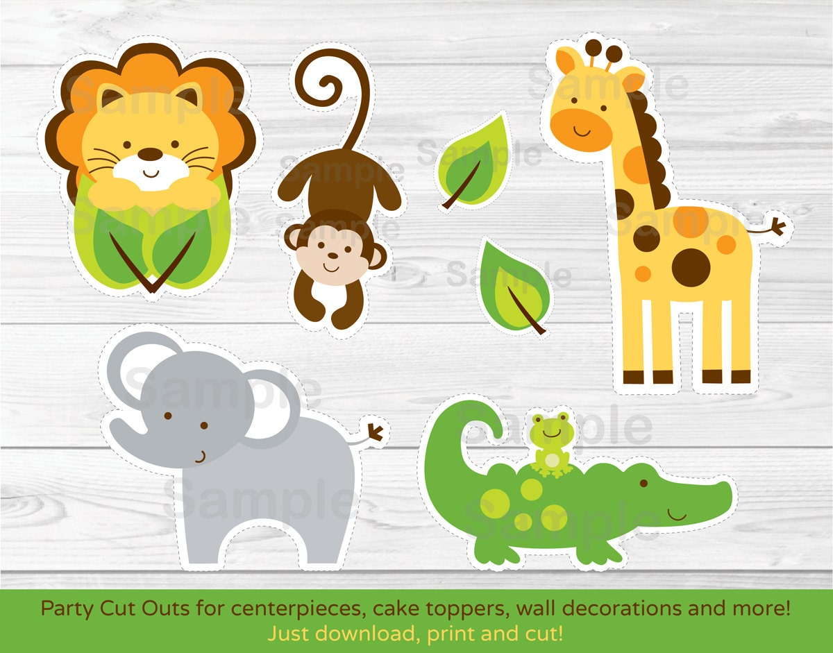 Jungle Safari Animal Cut Outs / Centerpiece / Wall Decor