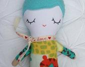BABY DOLL - Blue Haired Doll - Cloth Doll - Sleepy Eye Doll - Rag Doll - Baby Toy - Cute Doll - Boy Doll - Small Doll - OOAK Doll