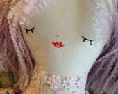 Sweet Handmade Doll -- Cloth Doll -- Rag Doll -- Cute Doll -- Purple Haired Doll --  Soft Toy -- Valentine Doll -- Birthday Gift