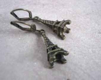 Small Antique Gold Eiffel Tower Dangle Earrings