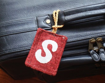 Handmade Luggage Tag Business Card Suitcase ID Holder Travel Tag Abstract Design Letter S
