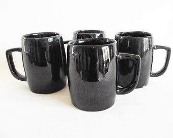 Vintage Van Briggle Pottery Mugs - Set of 4 - Midnight Blue - Black - 1960s