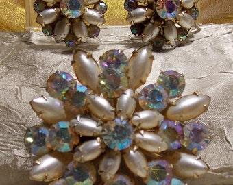 Vintage Coro Aurora Borealis Brooch Earrings