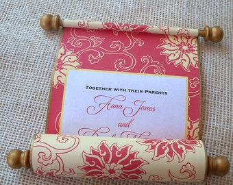 Wedding invitation scroll, Chinese wedding invitations, scroll invitations, red and gold wedding, floral invitations, Asian invitations