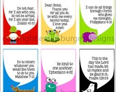KIDS Set 2. Scripture and encouragement for your mirror. Includes suction hook. Start and end their day right.