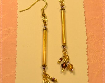 Vintage Gold Bugle and Purple Crystal Earrings