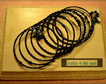 Black and Turquoise,Heart and Crystal Memory Wire Bracelet