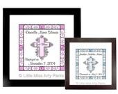 Birth Announcement Print -  Cross Design