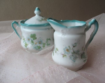 Vintage Turquoise Floral Cream and Sugar Set Charming Tea Party Style