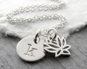 Initial Necklace Silver Lotus Charm Necklace Lotus Flower Single Initial Yoga Necklace