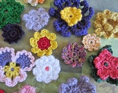 Crochet Flower Appliques - 20 Mixed Blooms - Perfect Craft Supply