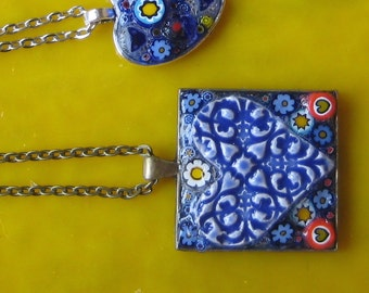 "Jewelry Pendant Mosaic Blue Heart Surrounded by Millefiori slices in a lead free nickel free square ""frame"" hanging on a 24 inch chain"
