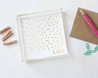 Gold Foil Confetti Lucite Tray - Gold Foil Monogram - Jewelry Organizer - Desk Organizer - Wedding - Mini Tray - Acrylic Tray - Hostess Gift