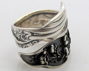 Heavy Sterling Silver Spoon Ring Size 6-9 Lily of the Valley Whiting