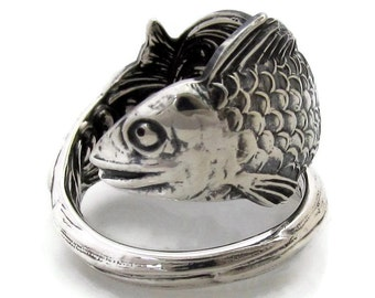 Spoon Ring Fish Size 6-12 Sterling Silver Art Nouveau