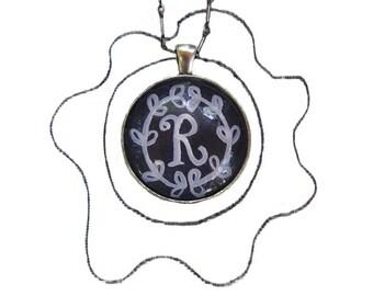 chalkboard letter R, handpainted original artwork, hand painted chalkboard letters necklace