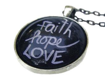 Faith Hope Love chalkboard pendant, chalkboard drawings, hand painted original artwork