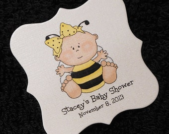 Personalized Baby Girl Baby Shower Favor Tags, Bumble Bee Baby Girl, Set Of 20 2 x 2 Girl Shower Tags