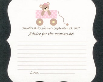 Personalized Baby Shower Game Sheets, Advice for the mom-to-be, teddy bear in wagon, pink, set of 25