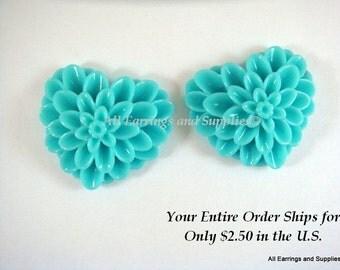 SALE - 2 Turquoise Heart Flower Cabochon Dahlia Resin 38x34mm - No Holes - 2 pc - CA2017-T2