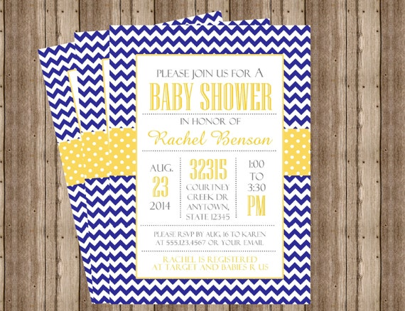 baby shower invitation blue and yellow chevron couples shower