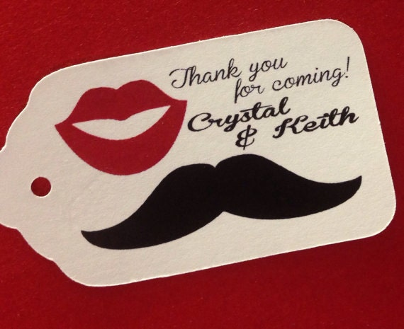 Thank You for Coming Tag with Mustache and Lips MEDIUM Personalized Wedding Favor Tag  choose your amount