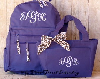 Personalized Backpack Lunch Bag Zebra Leopard Bow Monogrammed School