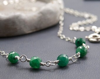 Emerald Necklace Gemstone Jewelry Mothers Day Birthstone Necklace Emerald Gemstone Necklace May Birthday Necklace Gift Wire Wrapped