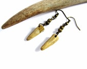 Antler Tip Earrings Dangle Wire Wrapped Brass Beads Natural Jewelry by Hendywood