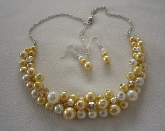 Yellow White and Silver Cluster Necklace and Complimentary Earrings