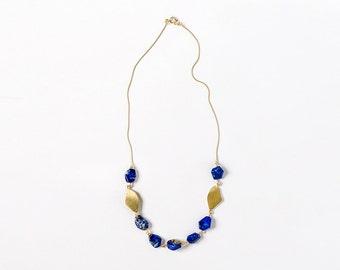 Blue Lapis Necklace , Gold Gemstone Necklace
