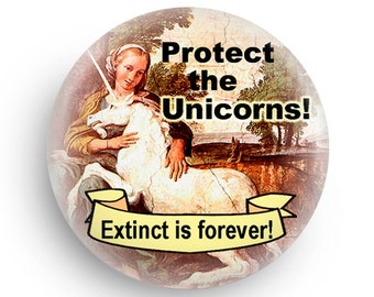 Funny Unicorn Magnet or Pinback Small Gift for Unicorn Fans