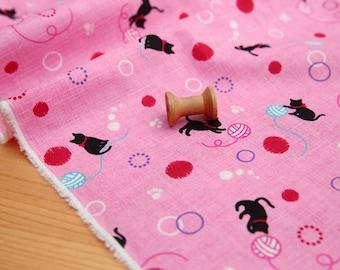 3837 - Japanese Cat Slubbed Cotton Fabric - 43 Inch (Width) x 1/2 Yard (Length)