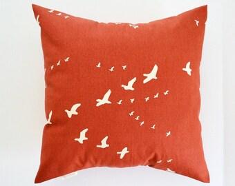 Bird Pillow Cover Paprika Pillow Rust Pillow Orange Pillow Flight Organic Cotton Color Choices