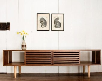 Bucks Media Console - Modern - Solid Walnut and Maple - TV Stand - Media Cabinet